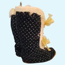 "6"" tall x 4 1/2"" long Antique Black patterned Velvet doll shoes"