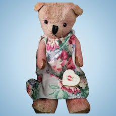 "Big pink, 26"" vintage, jointed Teddy Bear in barkcloth dress"