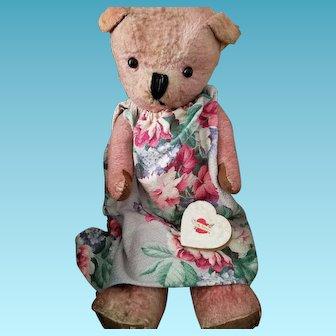 "Big pink, 26"" vintage, jointed Teddy Bear in barkcloth dress"