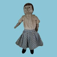 "11"" Primitive Painted cloth antique doll (cobo alice style)"