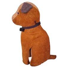 "Primitive large seated toy dog 13 1/2"", shoe button eyes"