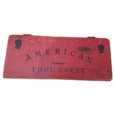 Vintage red wooden toy AMERICAN TOOL BOX