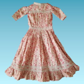 1890s Antique Calico doll's dress, red/pink berries and leaves, lace trim