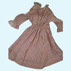 "Early 1900s antique Red/White Striped 10.5"" doll dress"