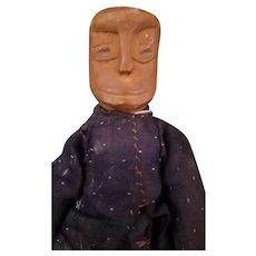 """9 3/4"""" Very primitive antique Folk Art Wooden Carved man"""