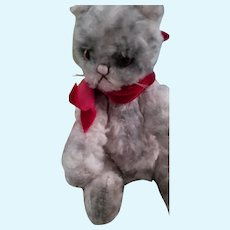 """6"""" tall curly mohair striped Artist jointed cat."""