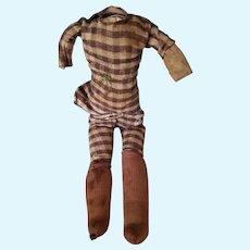 Very primitive antique cloth doll body, blue calico inside