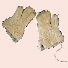 "5"" longMohair & kid leather childs antique mittens"