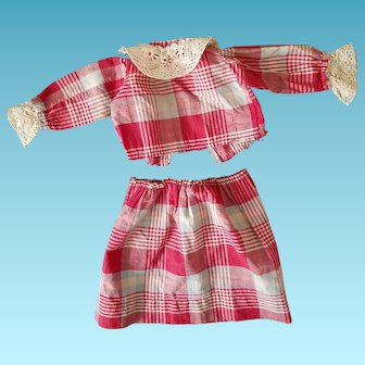 red, white& teal Plaid 2 piece Antique cotton doll dress, nice for your primitive or cloth doll