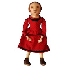"""20"""" Artist Izannah WALKER-style doll, signed & dated, red calico dress"""