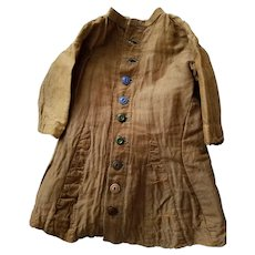 Antique doll or toddler dress, late 1800s, buttons & belt tie,