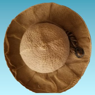 """Antique doll's panama hat with netting & velvet trim. Measures 8.5"""" side to side."""