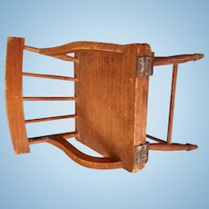 """7"""" tall antique wooden doll chair, opens as a table. Salesman's Sample?"""