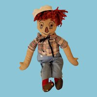"""19"""" hand made 1920s folk art Raggedy Andy ,Volland style outfit"""