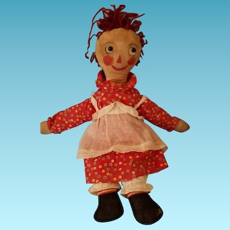 "17"" 1920s folk art Volland-styled Raggedy Ann, charming handmade clothes & bright, painted face"