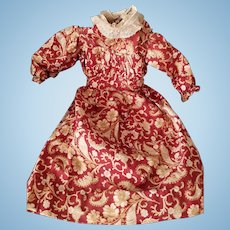 Late 1890s/early 1900s paisley fabric antique doll dress from an 1890s wax-over doll