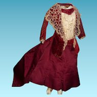 Spectacular original antique french fashion doll dress all original silk and velvet