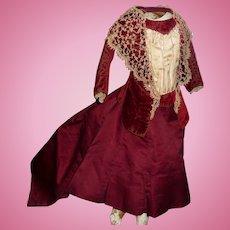 Spectacular original antique french fashion doll dress all original silk and velvet
