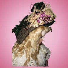 Gorgeous antique straw and velvet bonnet for medium doll