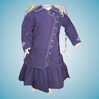 Antique doll dress with bustle circa 1890 purple wool