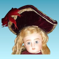 Beautiful maroon velvet wide brim hat for small doll