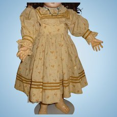 Antique original wool print doll dress for german or french doll