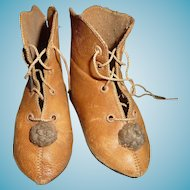 Antique doll shoes boots in larger size all original for french bebe