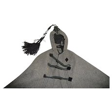 Wonderful antique wool traveling cape or cloak for german or french fashion doll