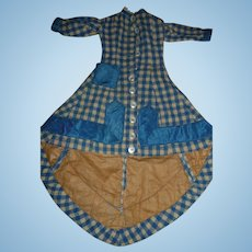 Fabulous antique original small size wool german or french fashion doll dress
