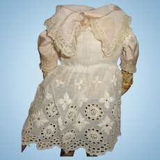 Antique doll dress pinafore and blouse set small size