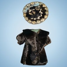 Fabulous antique tiny size original coat and hat set for bisque german or french doll
