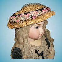 Charming vintage straw bonnet hat for large german or french doll