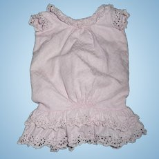 Wonderful antique original pique pink dress for antique german or french doll