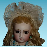 Wonderful small size original antique wide brim lace ribbon bonnet for german or french doll