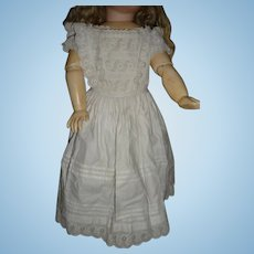 Gorgeous early whitework antique dress for large doll or display