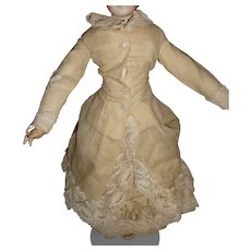 Beautiful original antique two piece walking dress with bustle for french fashion doll