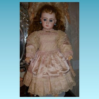 Extraordinary original antique french doll dress of pink silk satin circa 1880-1885