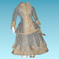 Beautiful antique original two piece elaborate walking dress in grey wool