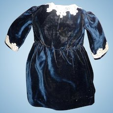 Lovely small size antique deep blue velvet doll dress for german or french antique doll