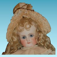 Antique elaborate silk doll bonnet for antique german or french doll