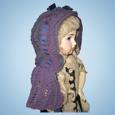 Beautiful antique elaborate bonnet for large doll or display