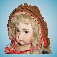 Charming antique wool hat or bonnet for large doll or display