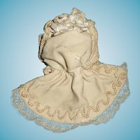 Superb early antique original doll bonnet for german or french fashion doll or small bisque child doll