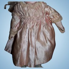 Fantastic tiny size original antique pink satin doll dress