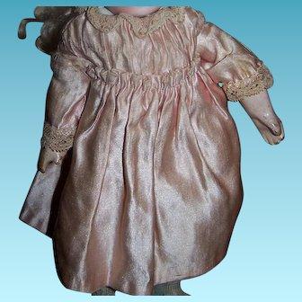 Fantastic tiny size original antique pink satin doll dress