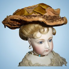 Incredibly detailed small size original antique french doll bonnet