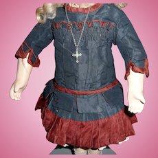 Exquisite original antique silk bebe dress for antique french doll