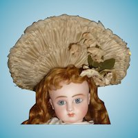 Spectacular genuine antique original couturier small antique french doll bonnet