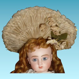 Spectacular genuine antique original couturier small antique french doll bonnet