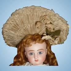 Spectacular original couturier small antique french doll bonnet